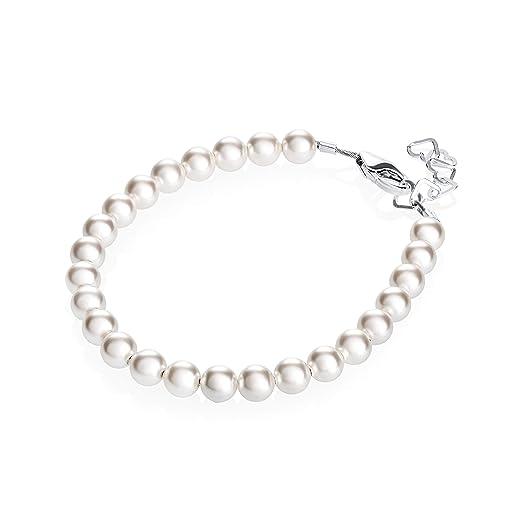 Amazon.com: Pulsera de perlas de plata de ley para niñas ...