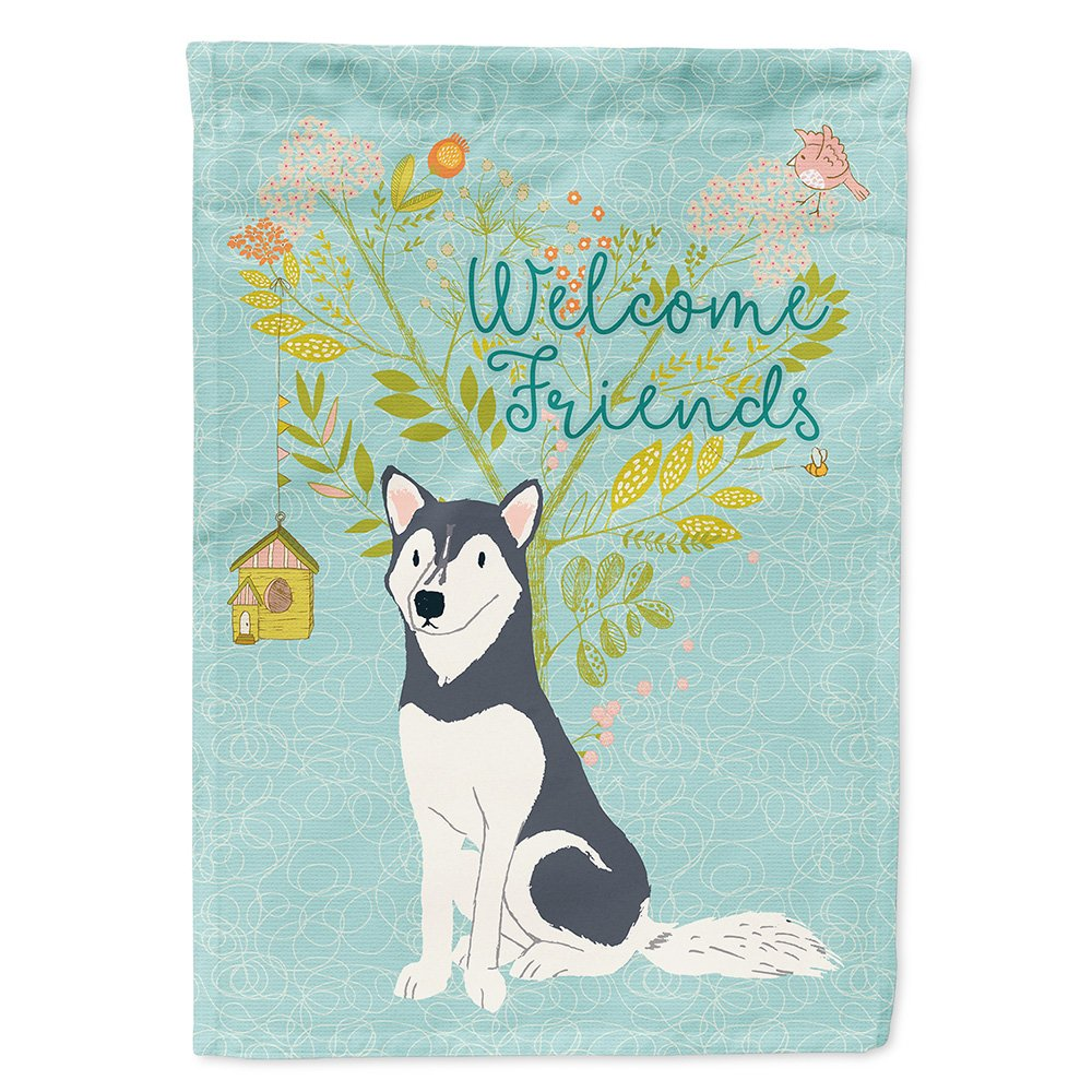 Caroline's Treasures BB7594GF Welcome Friends Siberian Husky Decorative Garden Flag, Size, Multicolor