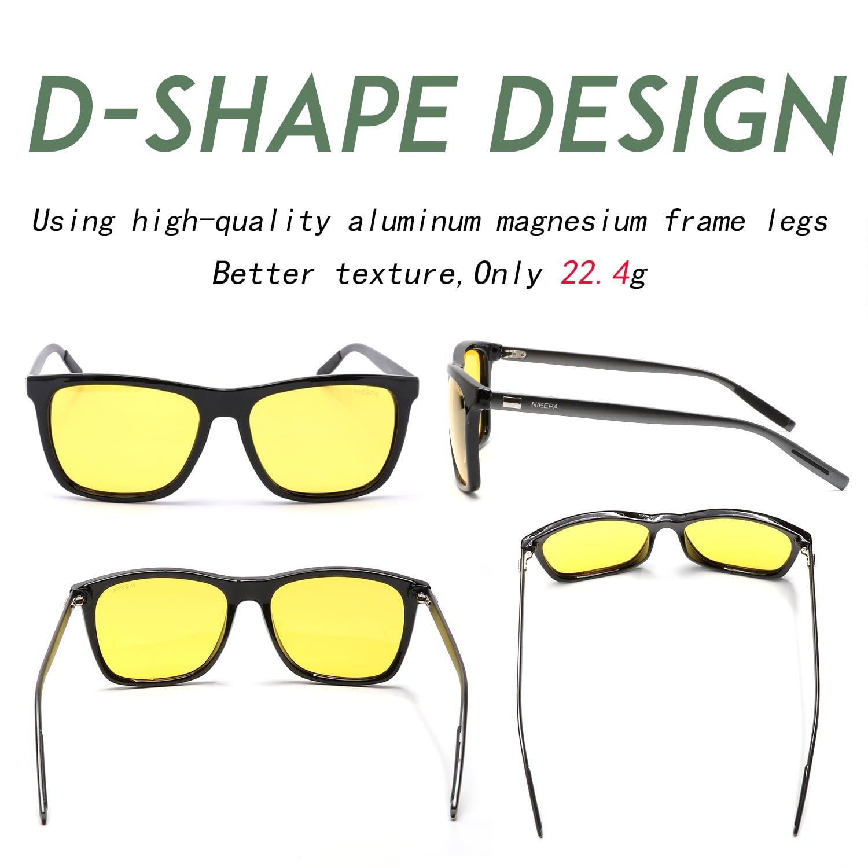 94d90029176 Amazon.com  HD Night Vision Polarized Sunglasses Square Yellow Lens Aluminum  Magnesium Temple Spring Hinges Driving Sun Glasses Men Women Classic Retro  ...