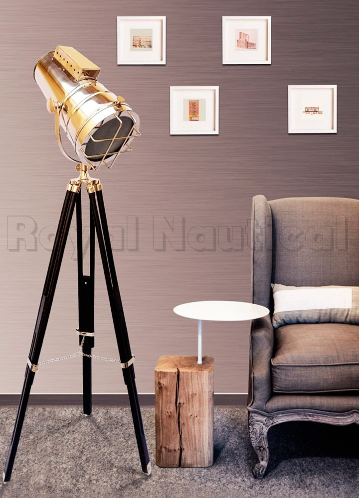 Nuatical Hollywood Designer Spotlight Searchlight Wooden Tripod Lamp Stand Vintage Lighting Home Decor