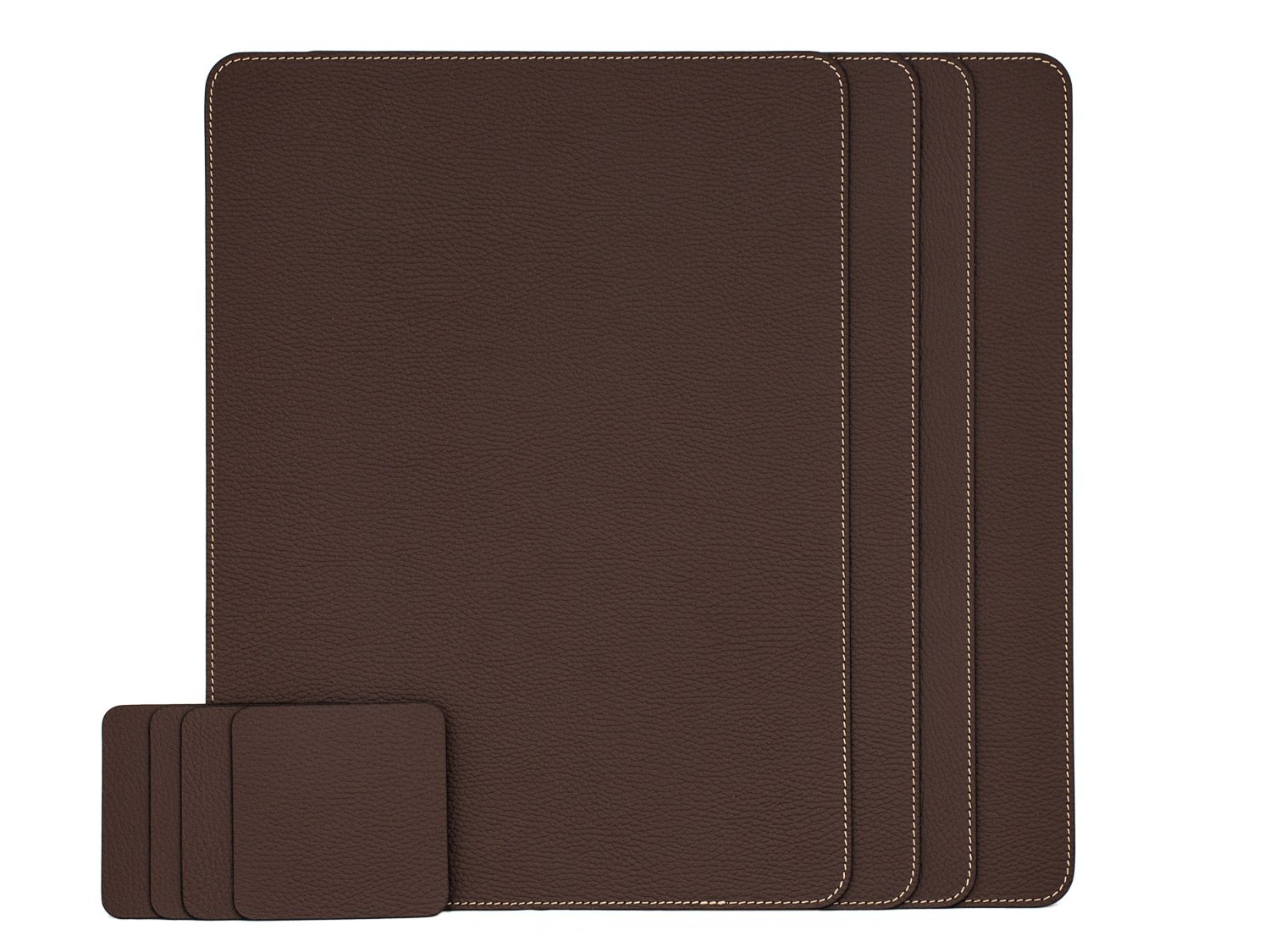 Nikalaz Set of Brown Placemats and Coasters, 4 Table Mats and 4 Coasters, Italian Recycled Leather, Place Mats 18'' x 13'' and Coasters 3.9'' x 3.9'', Dining table set