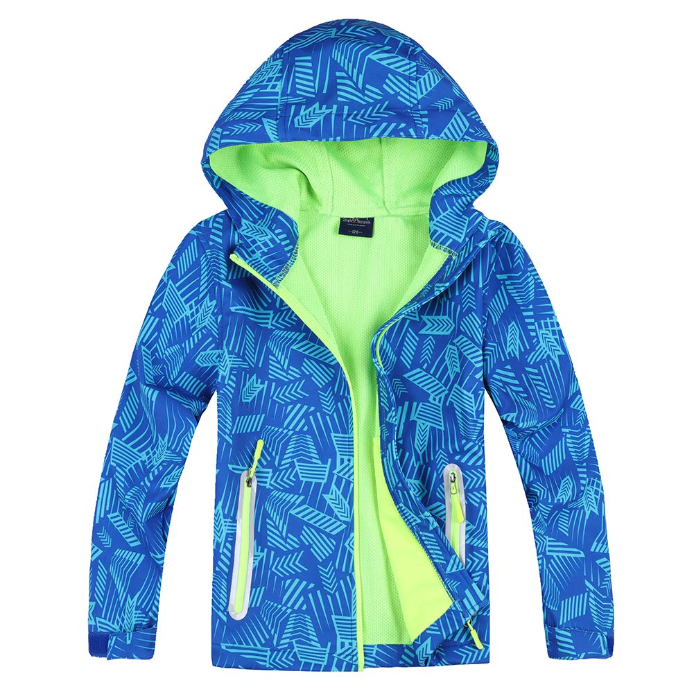 Jingle Bongala Boys Girls Rain Jacket Waterproof Coat Raincoat Hooded Light Windbreaker for Camping Hiking-Blue Arrow-130 by Jingle Bongala