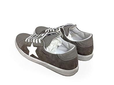 Scarpe Sneakers Basse Uomo Pelle Grigio camoscio Stella