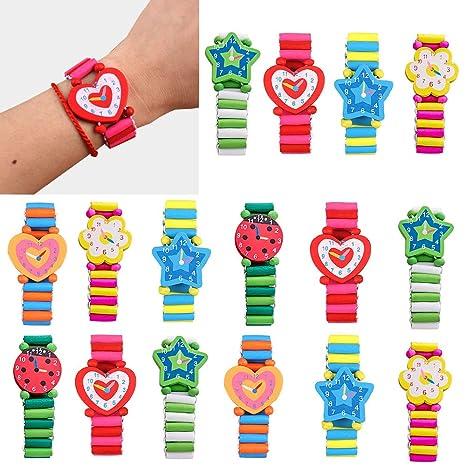 Gudotra 20pcs Reloj de Decorativos de Madera Relojes Coloridos Pulseras Infantiles en Forma Juguetes Infantiles Detalles