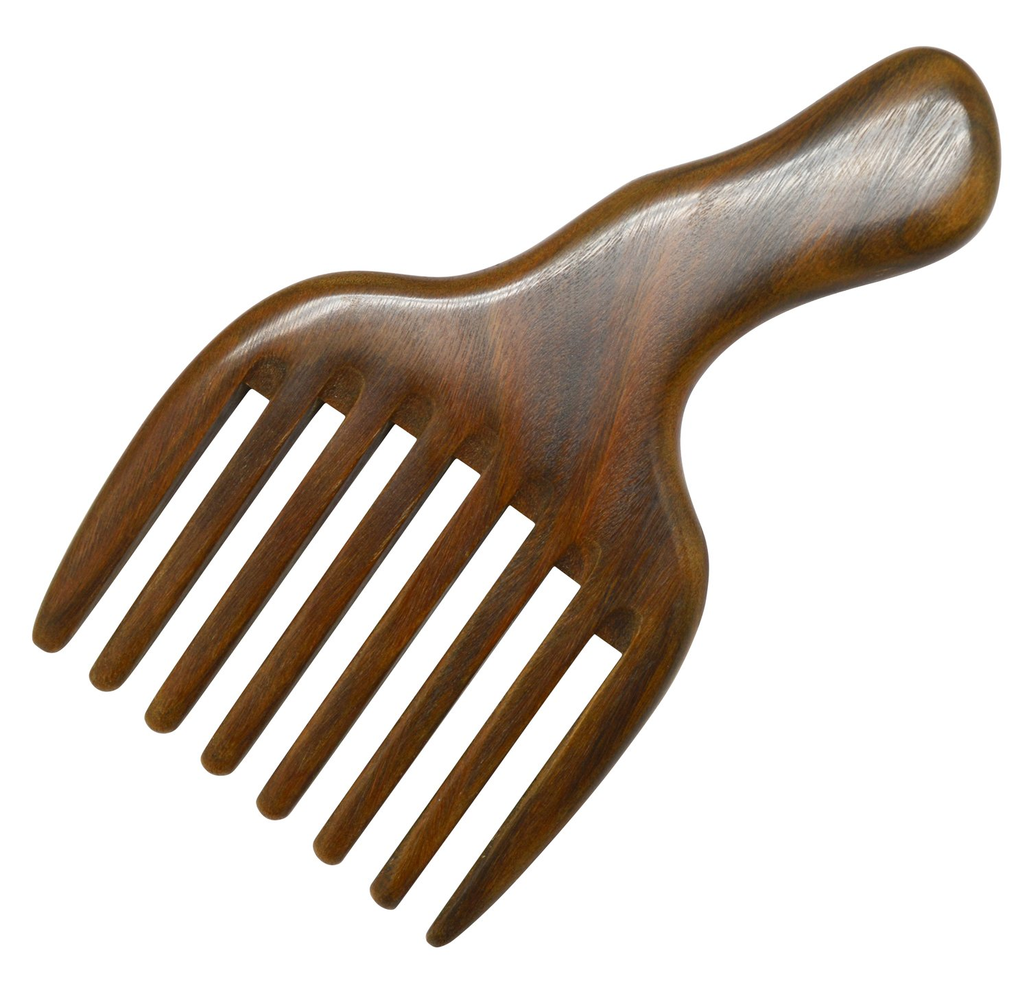 Meta-C Hair/Beard Pick/Comb - Made Of One Whole Piece Of Natural Green Sandal Wood With Fantastic Handle B071GTKD66 櫛