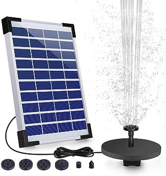 VITCOCO Solar Fuente Bomba, 5.5W Fuente de Jardín Solar, Batería Incorporada, Caudal 500 L/H, c...