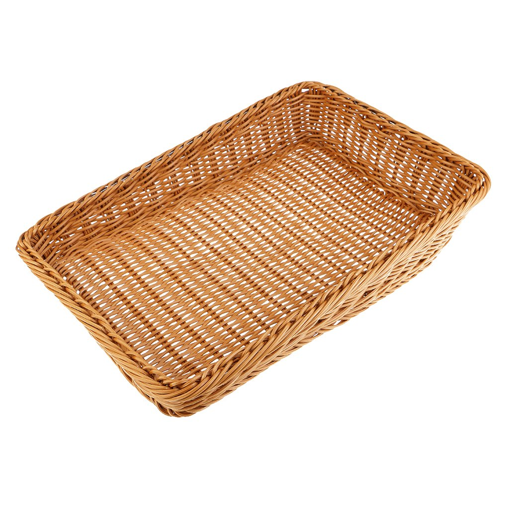 MagiDeal Trapezoid Rattan Bread Basket Food Fruits Weaving Storage Handimade Basket