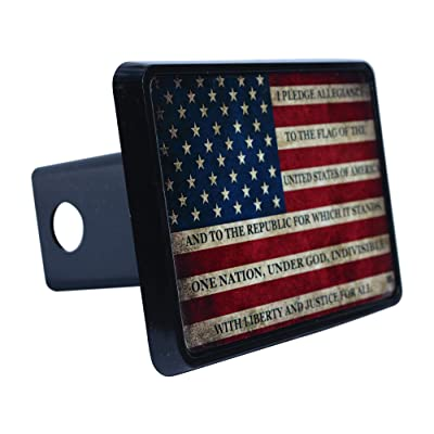 Rogue River Tactical USA American Flag Trailer Hitch Cover Plug US Patriotic Vintage Pledge of Allegiance: Automotive