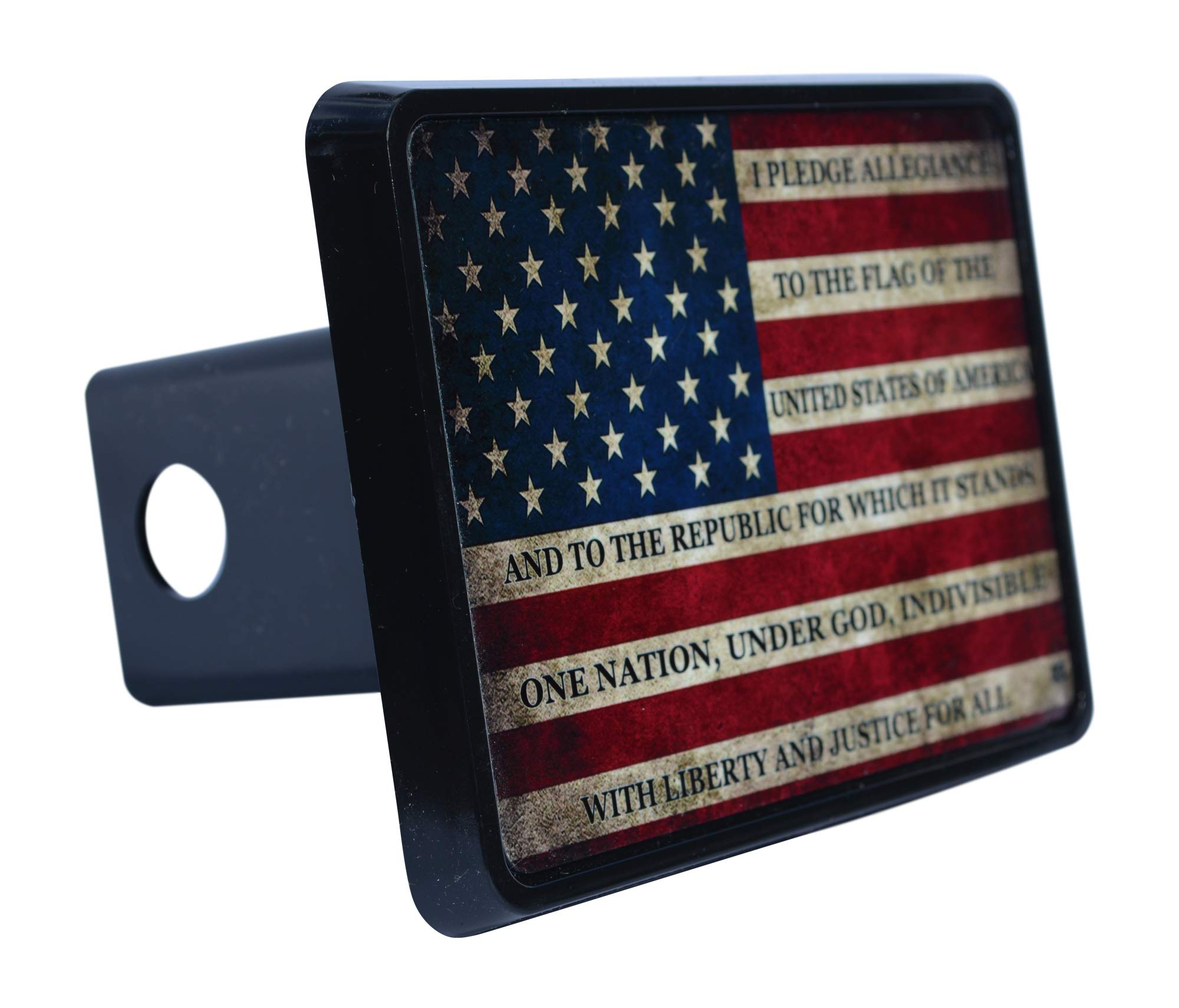 Rogue River Tactical USA American Flag Trailer Hitch Cover Plug US Patriotic Vintage Pledge of Allegiance by Rogue River Tactical