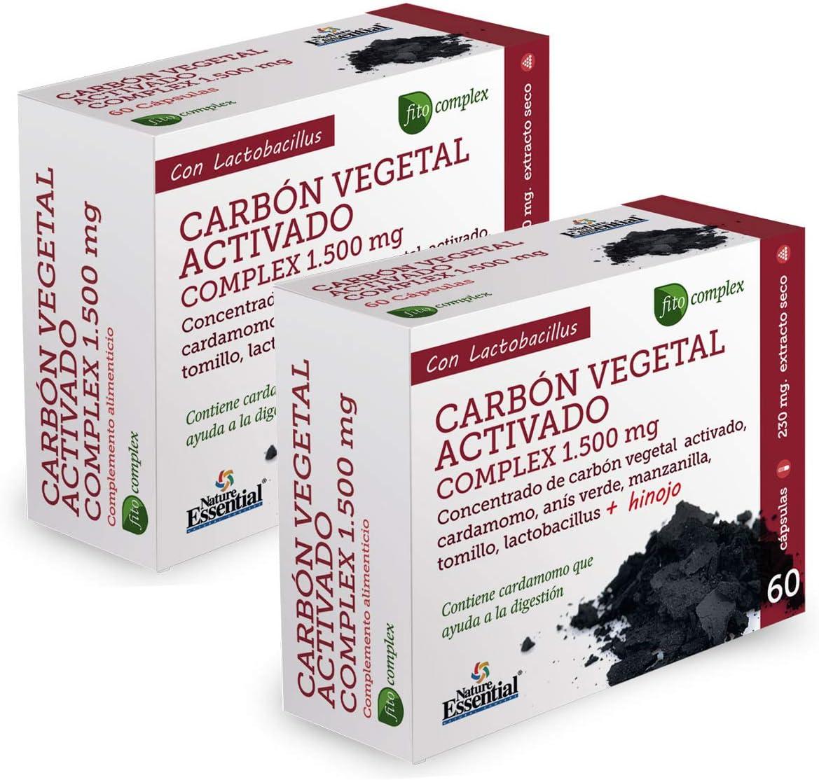 Carbón vegetal activado (complex) 1500 mg. (ext. seco) 60 cápsulas (Pack 2 unid.)