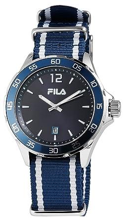Fila Herrenuhr blau mit Datumsanzeige und Textil Armband. Werk ...