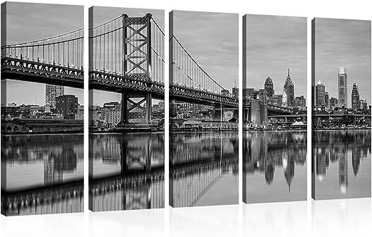 NEW YORK CITY SKYSCRAPERS POSTER SUNSET REFLECTION BRIDGE RIVER IMAGE PRINT