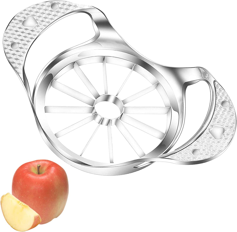 Apple Slicer,Stainless Steel Apple Corer,12-Blade Ultra-Sharp Apple Slicer Corer Cutter,Apple Corer Peeler,Fruit Corer & Slicer,Wedger,Divider for Up to 4 Inches Apples