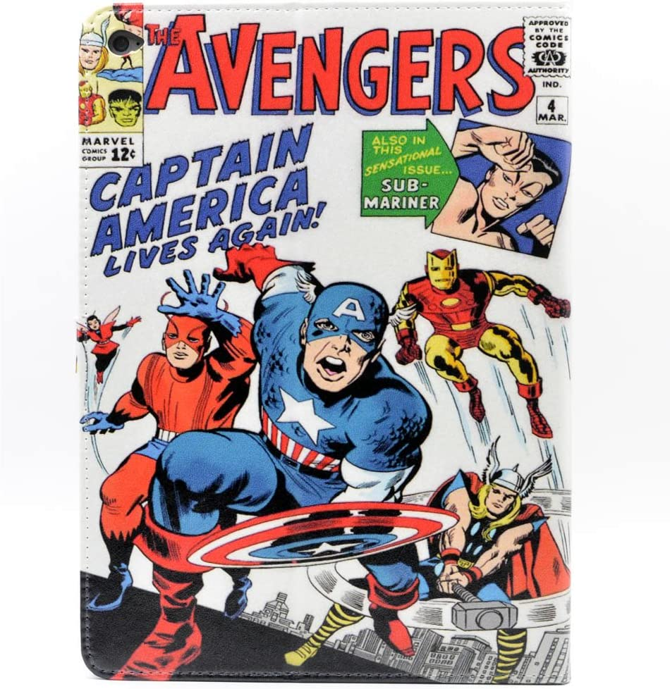 TPACC Case for iPad Air 2th ,Cartoon Comic Superhero Alliance Pattern Leather Stand Case Cover Slim Book Shell Stand Case Cover for Apple iPad Air 2 (A1566,A1567)