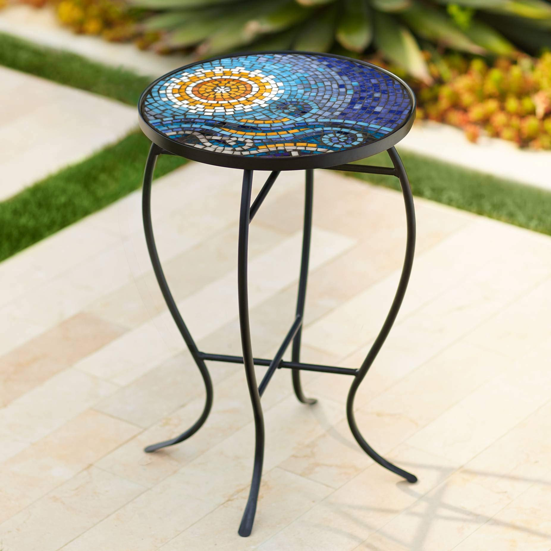 Teal Island Designs Ocean Mosaic Black Iron Outdoor Accent Table