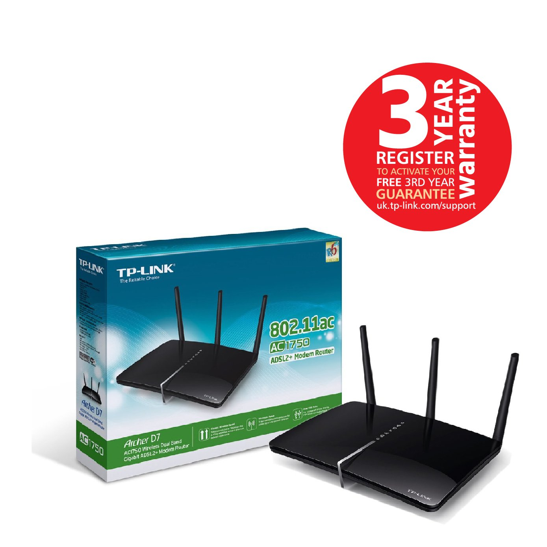 TP-LINK Archer D7 AC1750 Wireless Gigabit ADSL2+ Modem Router for ...