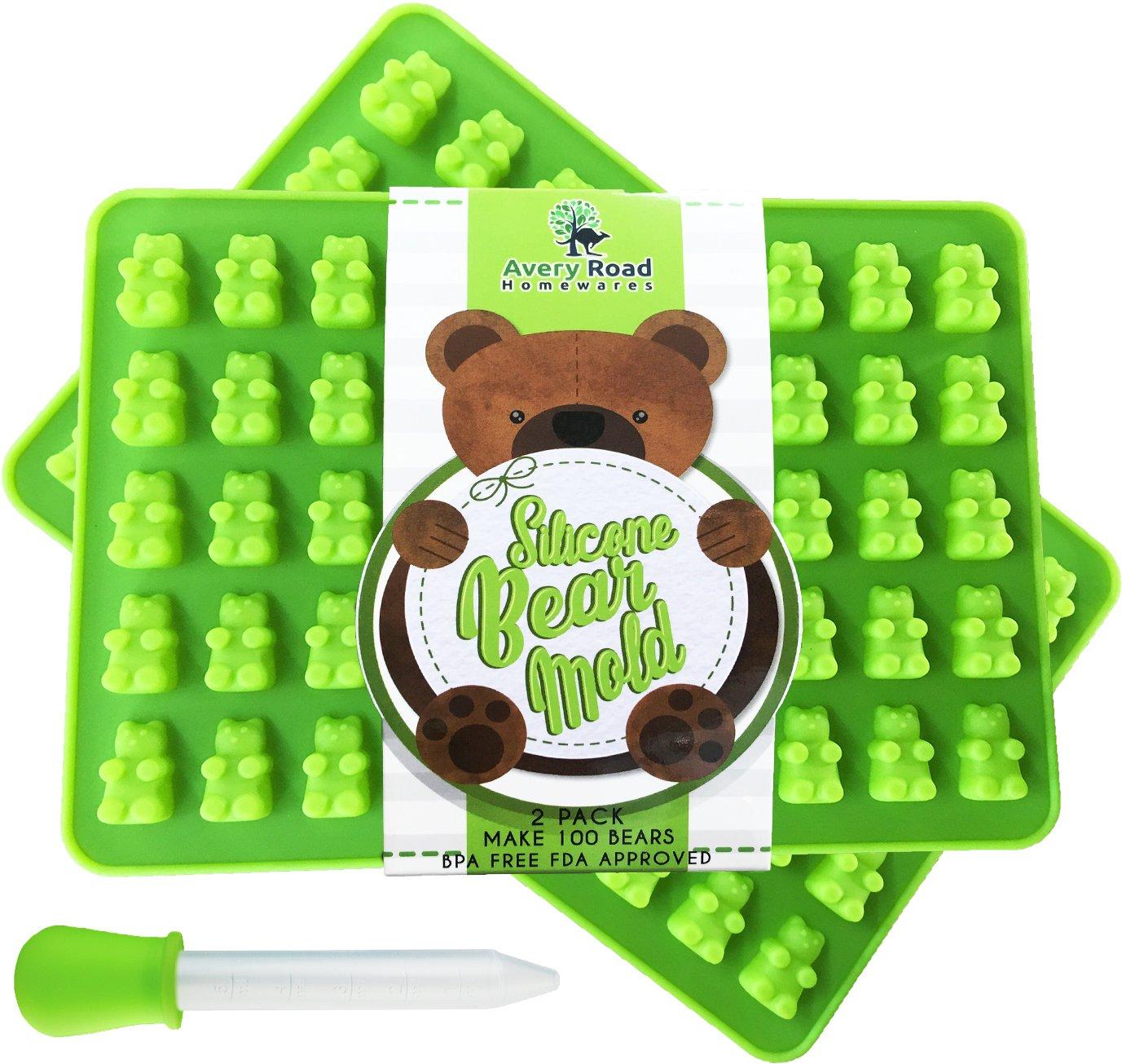 Premium Gummy Bear Mold - 2 PACK - BONUS DROPPER - 100 Bears on Trays + RECIPE PDF - Silicone Molds 100% Food Grade BPA Free FDA Approved Candy Chocolate & Gelatin Maker