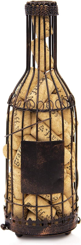 Wine Bottle Cork Holder | Rustic Wire Design | Blank Label for Decorating