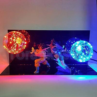 KAKALIN New Dragon Ball Z Vegeta & Son Goku Power Up Led Light Lamp Whole Set Gift Toys for Xmas: Toys & Games