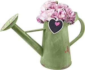 Urban Deco Rustic Watering Can, Decorative Flower Holder Galvanized Finish Metal (Green)