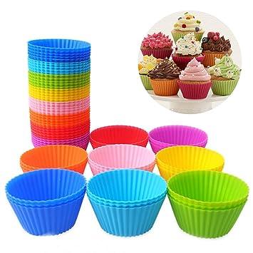 Reutilizable antiadherente de silicona para cupcakes/magdalenas Cupcake Liners respaldo redondo molde para gelatina, aperitivos, frozen golosinas, ...