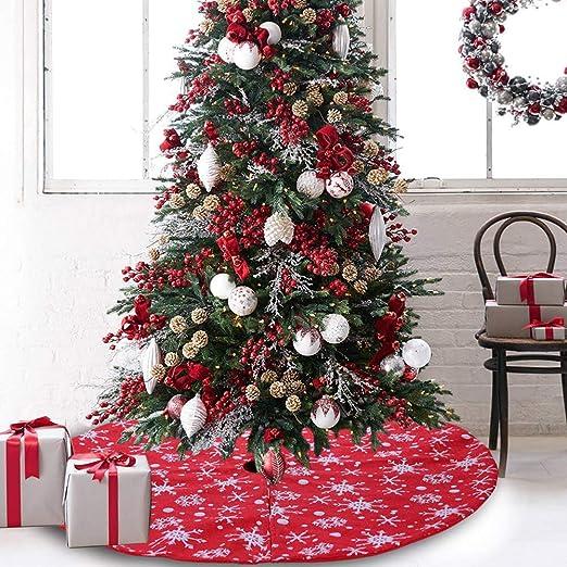 Lai-LYQ Falda De árbol De Navidad, Copo De Nieve Redondo Manta De ...