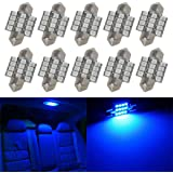 Partsam Blue 31mm Festoon 12-3528-SMD LED Lights Interior Dome Map Trunk Cargo Lamp Bulbs (10 Pieces)