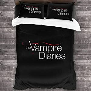 Vampire Diaries Sheet Cover-3 Piece Set-Hotel Luxury Bed Sheet-Extra Soft-Deep Pocket-Easy to Install-Breathable and Cooling Sheets-No Wrinkles-Comfortable.