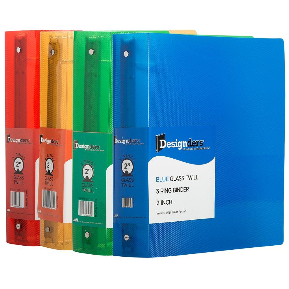 JAM Paper Assorted 2 inch Width Plastic 3 Ring Binders - Red, Green, Blue & Orange - 4/Pack