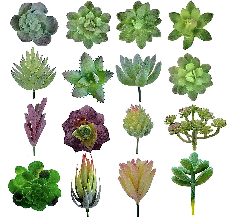 Artificial Succulent Plants Unpotted - Premium Pack of Small Fake Succulent Plants - Realistic Faux Mini Succulent Plants for Home Decor (Pack of 16)