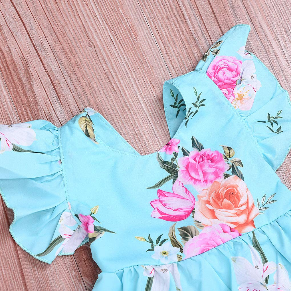 MetCuento Toddler Baby Girls Dress Strap Ruffle Backless Summer Party Dress Beach Wear Sundress Skirt Outfit