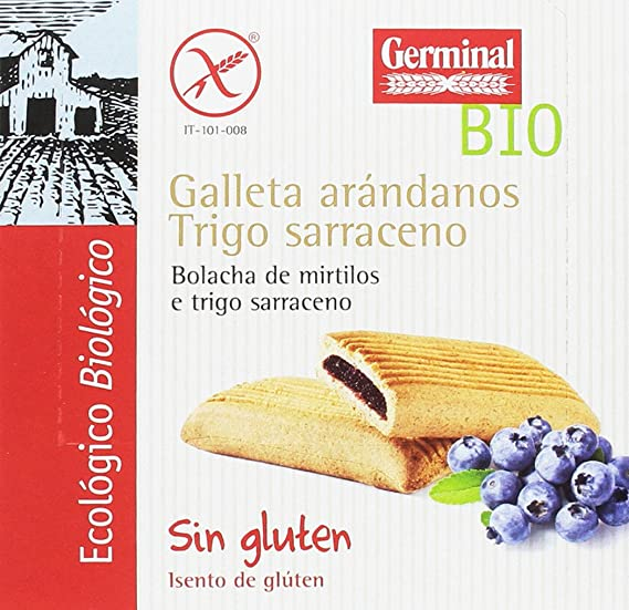 Germinal Galletas Sin Gluten de Trigo Sarraceno con Arándanos - Paquete de 10 x 200 gr - Total: 2000 gr