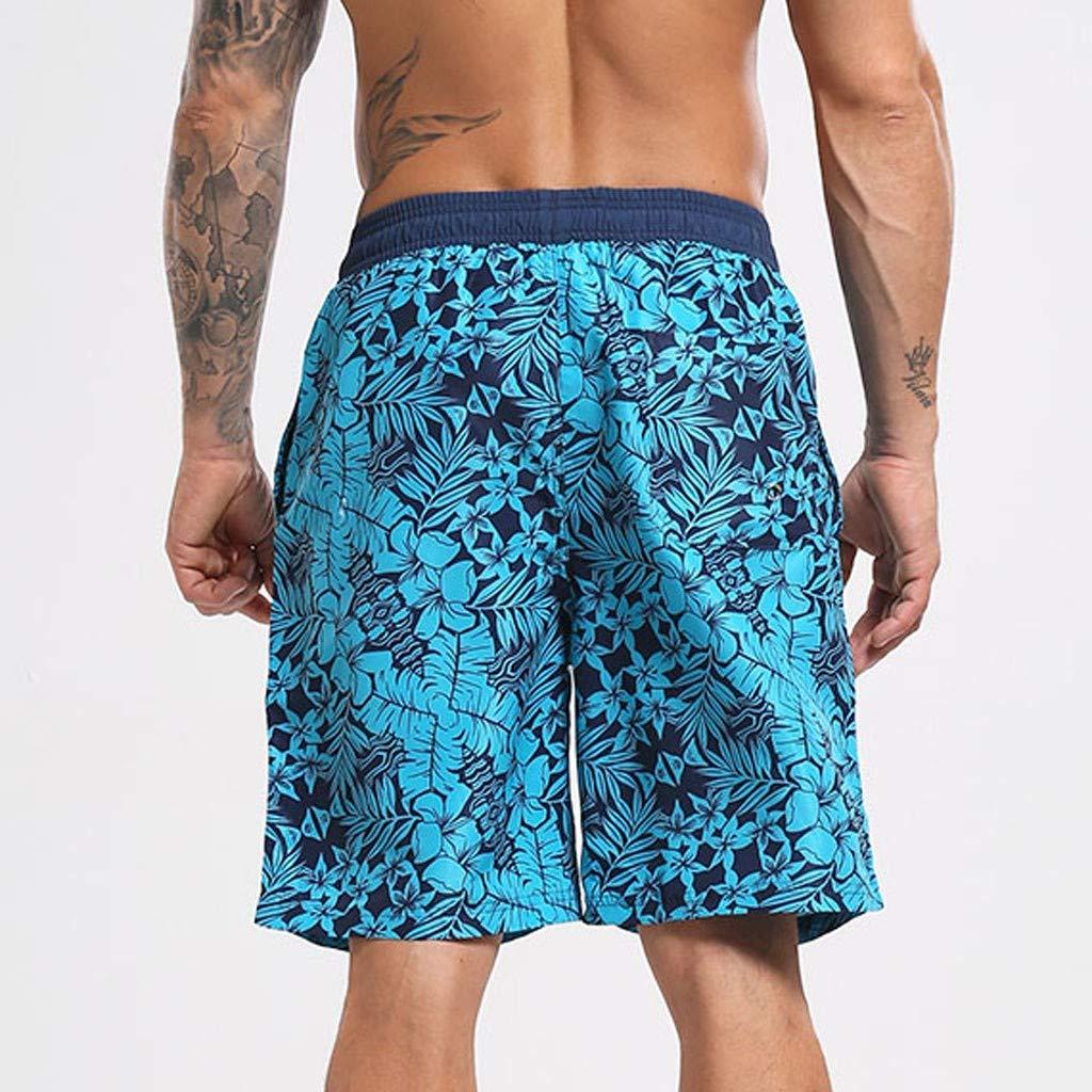 Mens Swim Drawstring Trunks,Kanhan Floral Print Loose Drawstring Beach Surfing Running Swimming Shorts