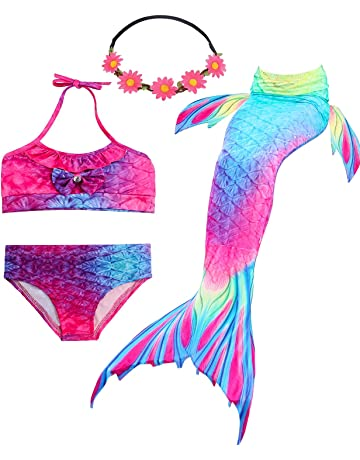 19ed5b0862 GALLDEALS 3PCS Girls  Swimsuit Mermaid Tail for Swimming Princess Bikini  Set Swimsuit Bathingsuit (No