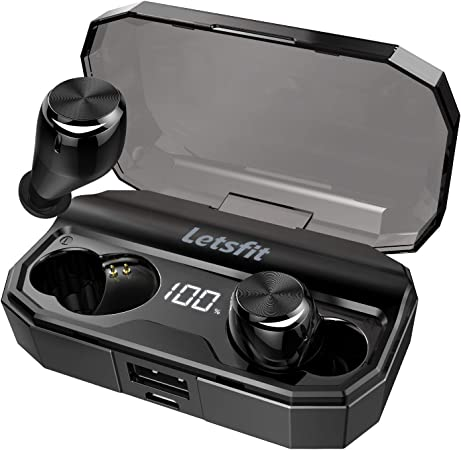 Wireless Earbuds, Letsfit Bluetooth 5.0 Headphones Up to 80H Playtime with Wireless Charging Case, Deep Bass Stereo IPX6 Waterproof Earphones in-Ear Built-in Mic for Sports