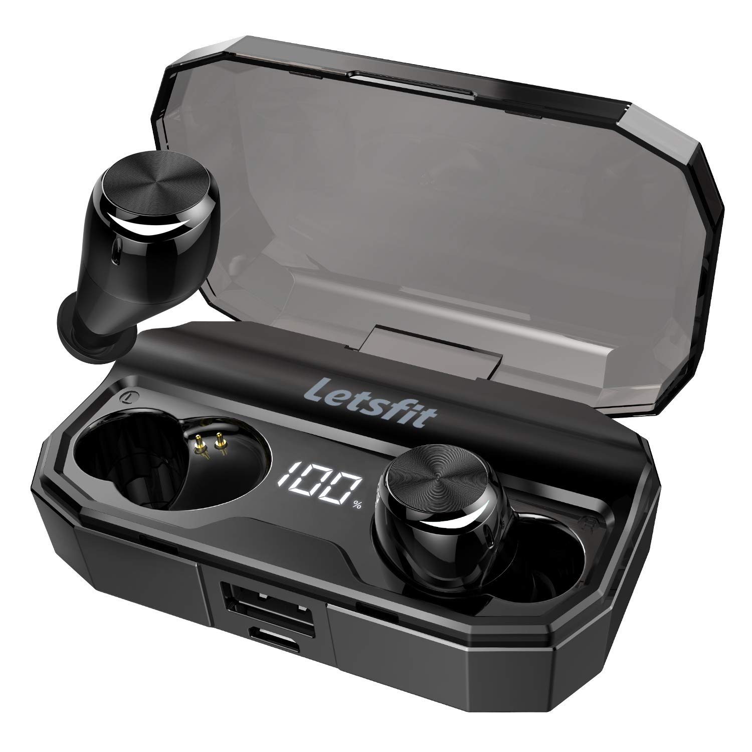 Wireless Earbuds, Letsfit Bluetooth 5.0 Headphones Up to 80H Playtime with Wireless Charging Case, Deep Bass Stereo IPX6 Waterproof Earphones in-Ear Built-in Mic for Sports by Letsfit