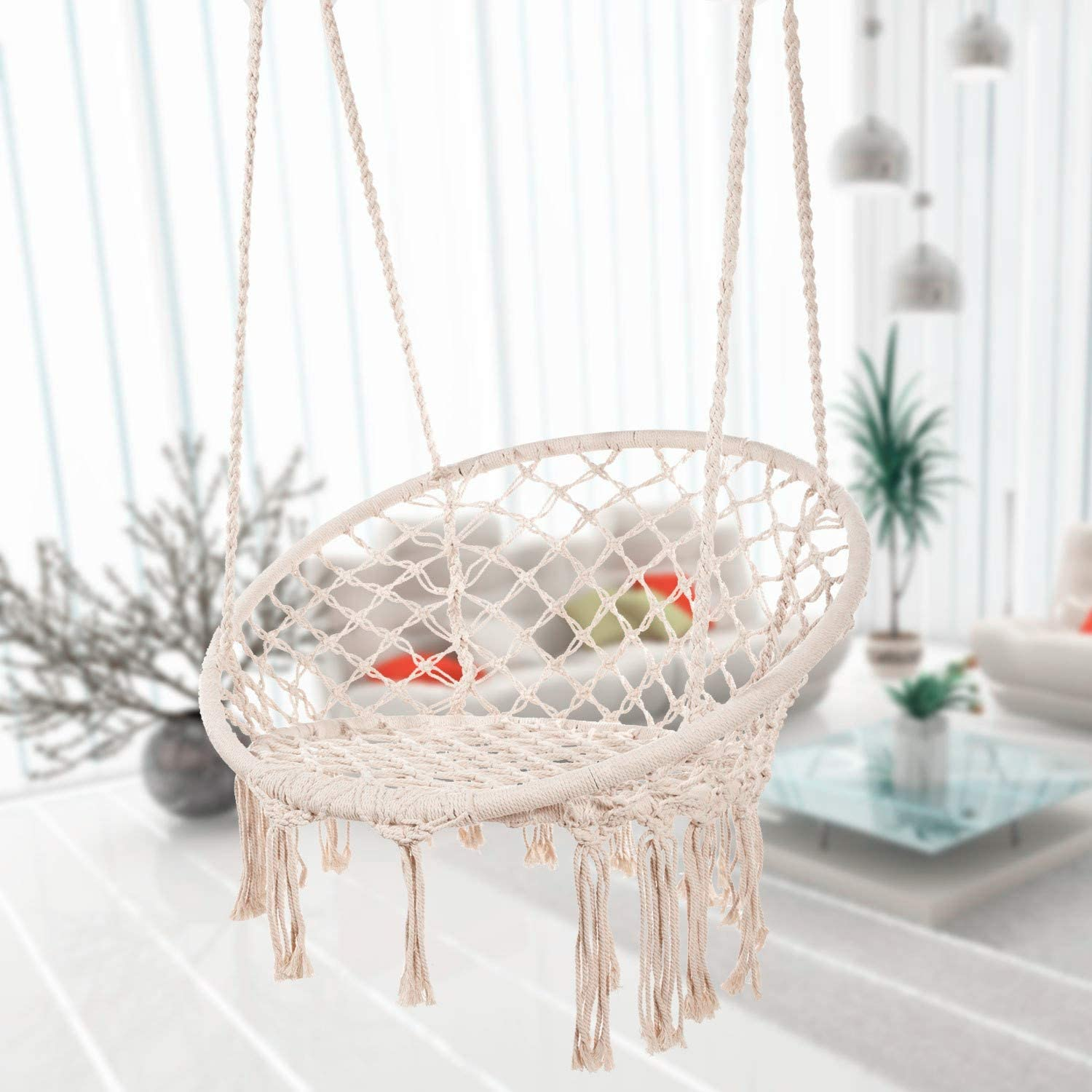 Amazon Com Caromy Hammock Chair Macrame Swing Hanging Lounge Mesh Chair Durable Cotton Rope Swing For Bedroom Patio Garden Deck Yard Max Capacity 265 Lbs Beige Kitchen Dining