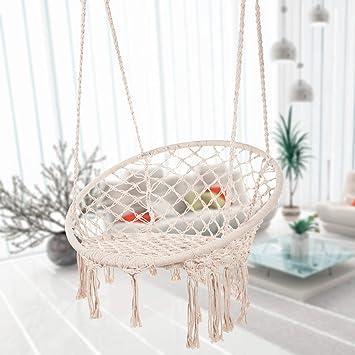 Bormart Hammock Chair Macrame Swing, Hanging Lounge Mesh Chair Durable Cotton RopeSwing For Bedroom, Patio, Garden, Deck, Yard, Max Capacity 265 Lbs (Beige) by Bormart