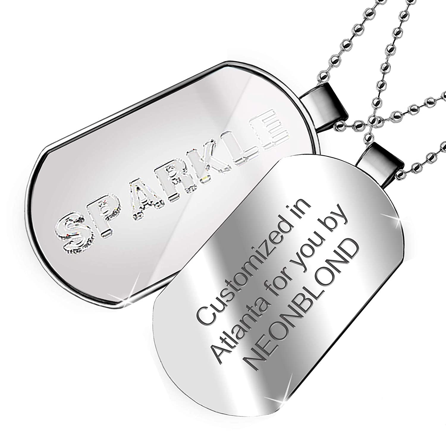 NEONBLOND Personalized Name Engraved Sparkle Diamonds Glass Lettering Dogtag Necklace