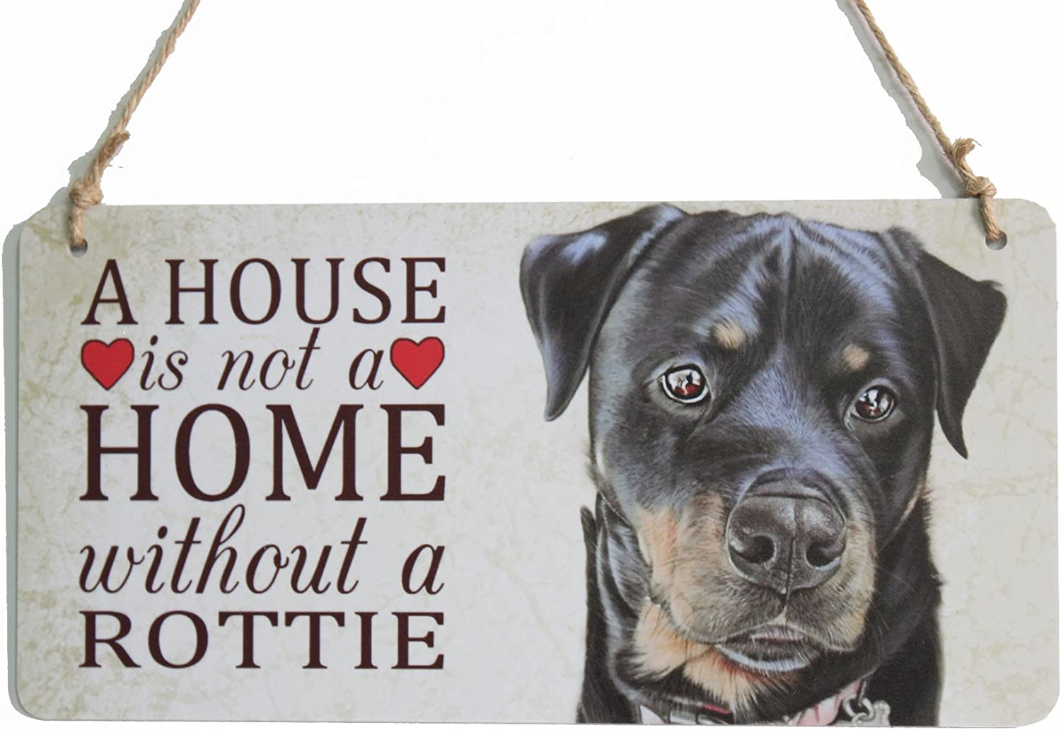 """zhongfei Rottie Dog Sign A House is Not A Home Without a Rottie Dog Plaque Dog Gifts (5"""" x 10"""")"""