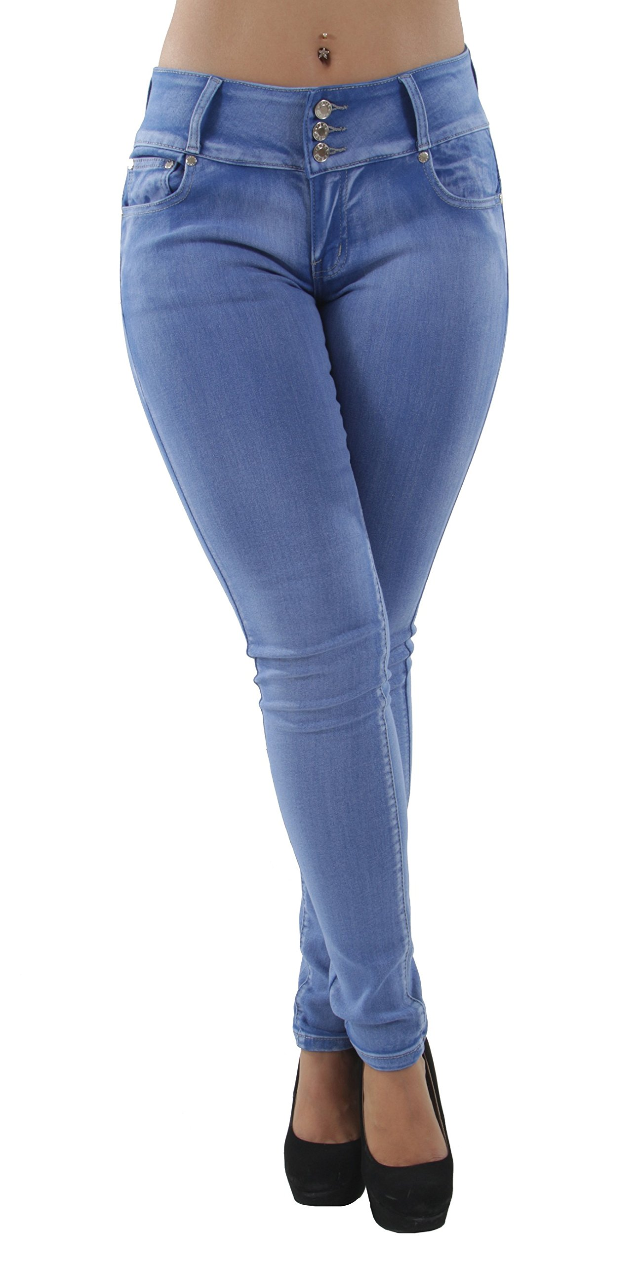 Fashion2Love H1722P - Colombian Design, Butt Lift, Push up, Mid Waist, Skinny Jeans in Washed Light Blue Size 13
