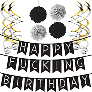 Funny Birthday Party Pack - Black & Silver Happy Birthday Bunting, Poms, and Swirls Pack- Birthday Decorations - 21st - 30th - 40th - 50th Birthday Party Supplies