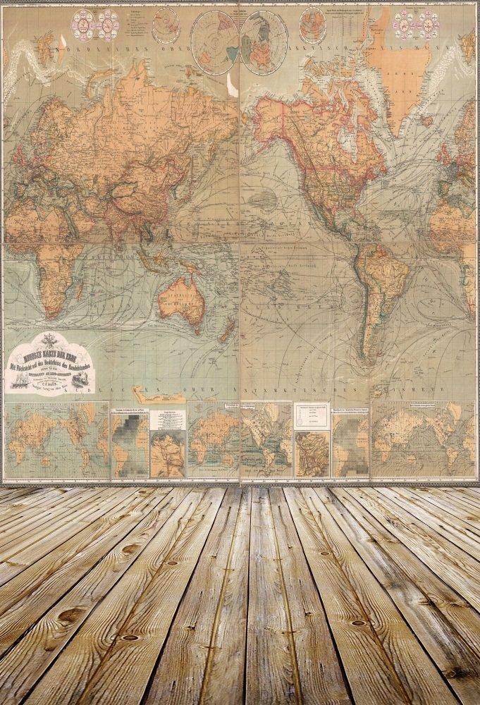 OFILA Vintage World Map Backdrop 5x7ft Retro Painting Wallpaper Hardwood Floor Decoration Adult Travel Photography Children Baby Kids Toddler Photos Portrait Digital Video Studio Prop