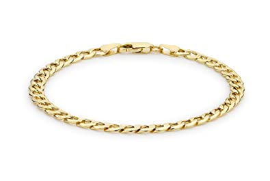 Carissima Gold Unisex 9 ct Yellow Gold Six Sided Curb Chain Bracelet HSfnqk