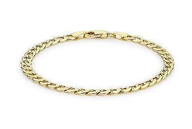 Carissima Gold Unisex 9 ct Yellow Gold Six Sided Curb Chain Bracelet JZQTz