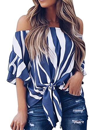 Kinikiss Women s Casual Striped Off Shoulder 3 4 Bell Sleeve Tie Knot T  Shirts Tops 31fa1cf3d