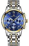 Relojes Hombre Acero Inoxidable Reloj de Pulsera de Lujo Moda Cronometro Impermeable Fecha Calendario Analogicos Cuarzo Reloj Militar Deportivo Luminoso Negocio Casual con Números Romanos Dial