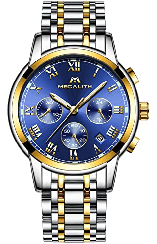 Hombre Acero Inoxidable Reloj de Pulsera de Lujo Moda Cronometro Impermeable Fecha Calendario Analogicos Cuarzo Reloj Militar Deportivo Luminoso Negocio ...