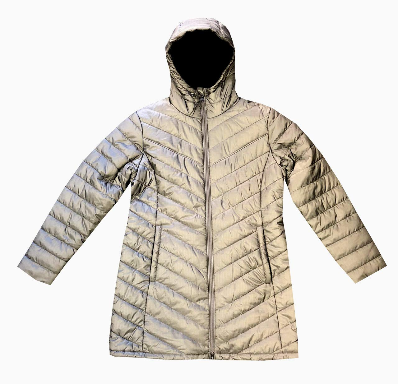 Columbia Womens Morning Light II Omni Heat Long Jacket Coat Puffer (XS, Grey/Reflective)