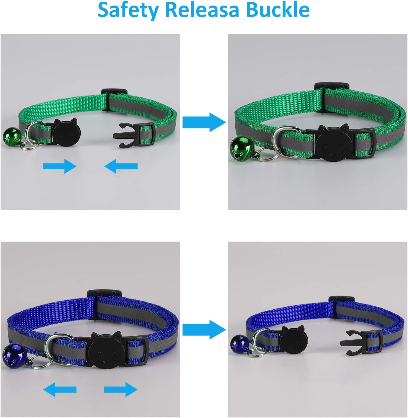Cat Collars 3 Pack Reflective Design Adjustable with Quick Release Bell More Safety Safety Buckle for Cats Puppy Red-3pcs